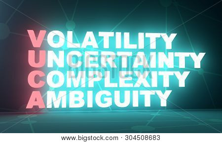 Acronym Vuca - Volatility Uncertainty Complexity Ambiguity. Business Conceptual Image. 3d Rendering.