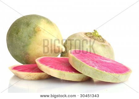 sliced radish isolated on white
