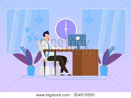 Behavior Modification At Work Vector Illustration. Emotional Stress And Physical Exertion At Work. M