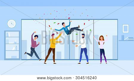 Greetings From Employees Vector Illustration. Stormy Expression Joy At Work. Men Throw Colleague Up