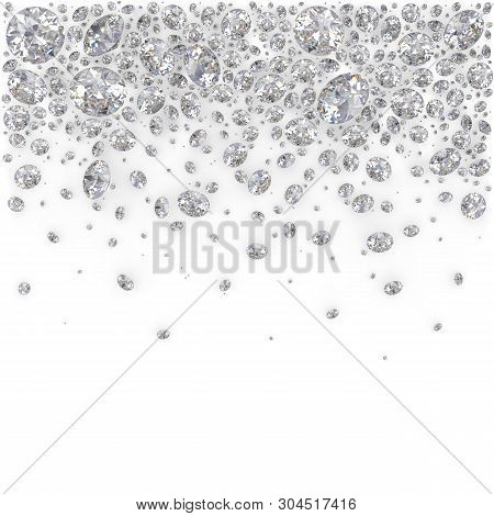 Placer Diamonds. 3d Generated Image. White Background.