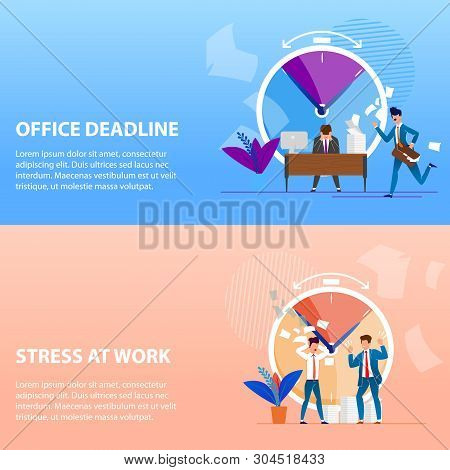 Set Is Written Office Deadlines and Stress at Work. Boss Exerts Psychological Pressure on Subordinate. Violation Deadlines for Implementation Project Causes Stress. Vector Illustration. poster