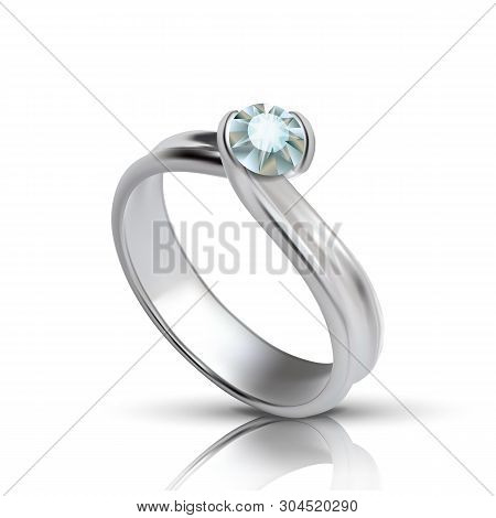 Stylish Silver Ring With Diamond On Top Vector. Female Adornment Ring With Faceted Jewelry Stone Ele