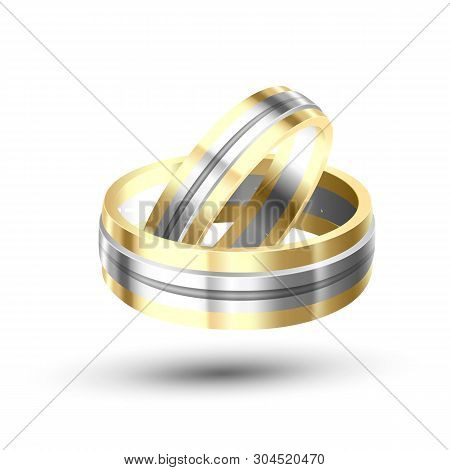 Golden With Silver Element Wedding Rings Vector. Special Symbolic Of Eternity And Relationship Rings
