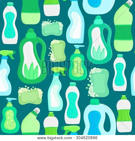 Seamless Pattern. Eco Friendly Household Cleaning Supplies. Natural Detergents. Products For House W
