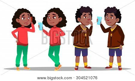 Thirst Character Teenager Boy And Girl Vector. Standing African Young Boy And Girl Thirst And Sad Be