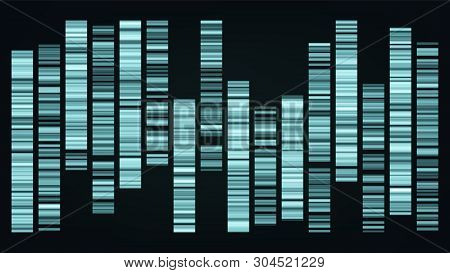 Design Color Big Genomic Data Visualization Vector. Dna Test, Barcoding, Genomic Map Architecture. M