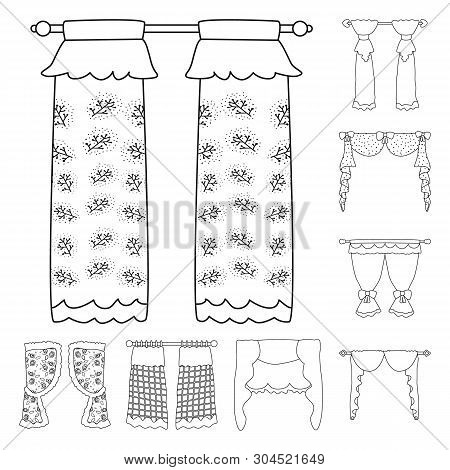 Vector Illustration Of Fabric And Decoration Icon. Set Of Fabric And Cornice Stock Vector Illustrati