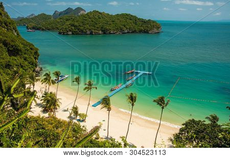 Viewpoint Look At The Beach At Mu Ko Ang Islands In Angthong National Marine Park In Thailand
