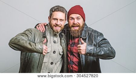 Brutal Bearded Men Wear Leather Jackets. Real Men And Brotherhood. Friends Glad See Each Other. Frie