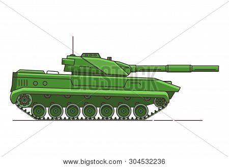 Army Tank. Armored Vehicle. Military Artillery Vehicle. Flat Line Art Vector.cartoon War Green Camou