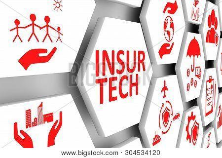 Insur Tech Concept Cell Background 3d Illustration