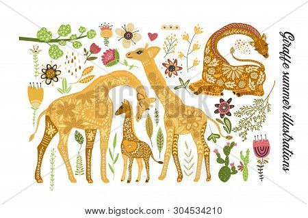 Cartoon Giraffe Vector Flat Illustration In Scandinavian Style. Cartoon Giraffe Vector Flat Illustra