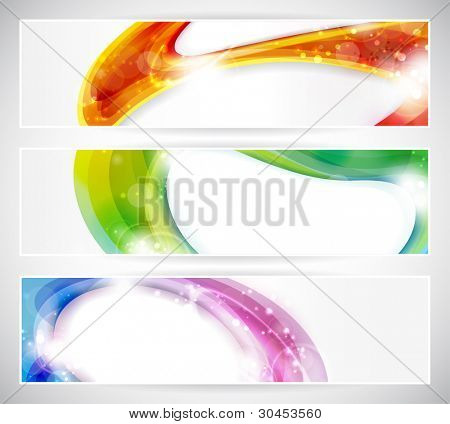 Set of abstract colorful web headers made of overlying abstract shapes with light effects. Space for your text, eps10.