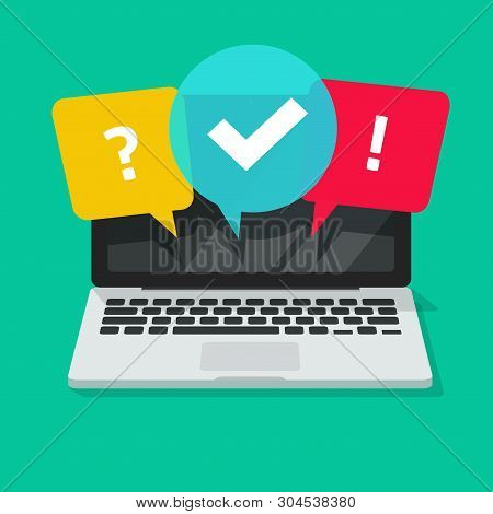 Quiz Or Exam Online On Computer Screen Vector Illustration, Flat Cartoon Laptop With Questionnaire S