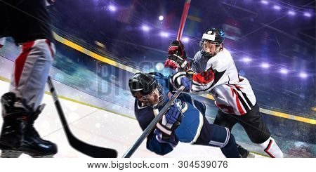 Hockey Player In Action Aggressive  Attack  Motion Photo