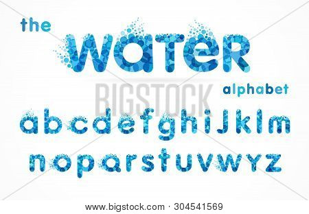 Water Drops Font, Funny Blue Alphabet, Letters And Waves. Mineral Natural Water Vector Abc Icon Desi