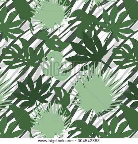 Seamless Floral Tropical Jungle Leaves Zebra Skin Pattern Background