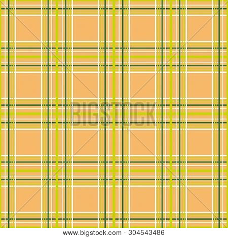 Seamless Checkered Plaid Tartan Orange Pattern Background