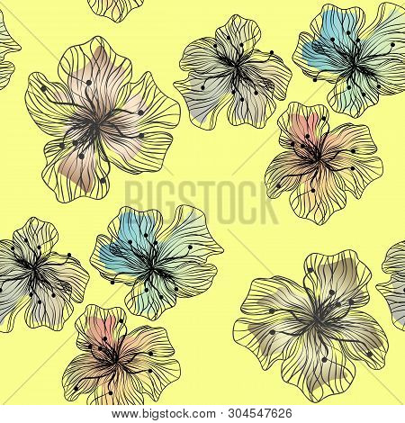 Seamless Retro Sketched Lined Flowers Pattern Background