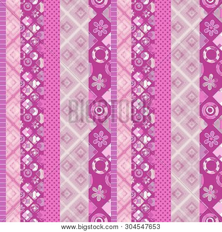 Seamless Patchwork Lined Bright Colorful Pattern Background