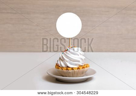 Topper Mockup Display, Styled Round Label Cupcake Mockup for your Design poster