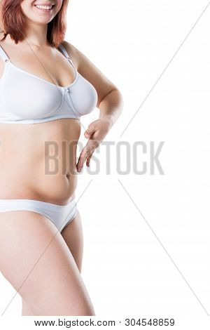 Woman With Fat Flabby Belly, Overweight Female Body Isolated On White Background