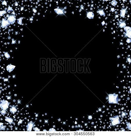 Falling Diamonds On Black Background. Good For Cover Card Banner Luxury Design. Round Frame.