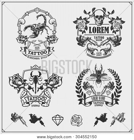 Vector Set Of Tattoo Salon Labels, Badges And Design Elements. Tattoo Studio Emblems With Profession