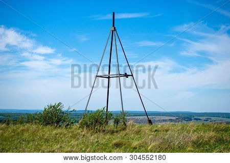 Metal Tower On Top Of A Hill. Geodesic, Triangulation Point. Summer Landscape.