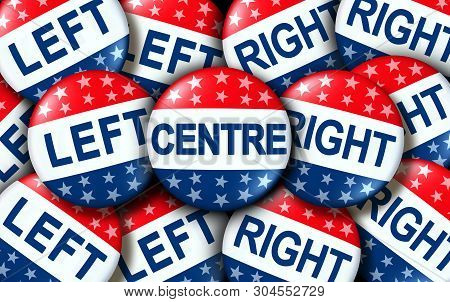 Centre Politics As Left And Right Wing Vote Badges As A United States Election Or Voting Concept As