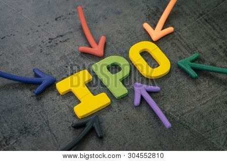 Ipo, Initial Public Offering Concept, Colorful Arrows Pointing To The Word Ipo At The Center Of Blac