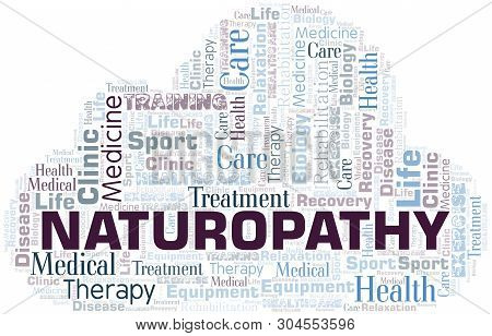 Naturopathy Word Cloud. Wordcloud Made With Text Only.