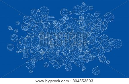 Vector Abstract Spheres Background. Vector Rendering Of 3d. Wire-frame Style