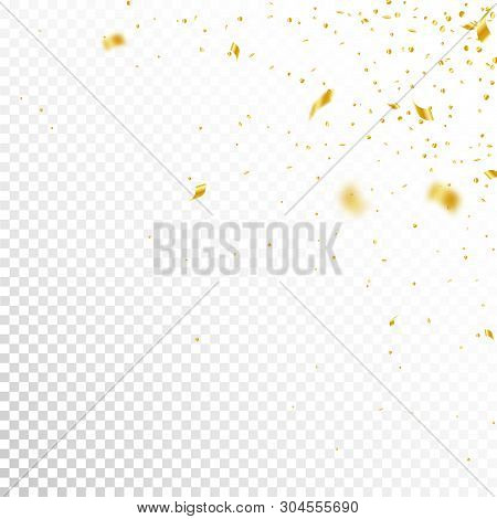 Streamers And Confetti. Gold Tinsel And Foil Ribbons. Confetti Corner On White Transparent Backgroun