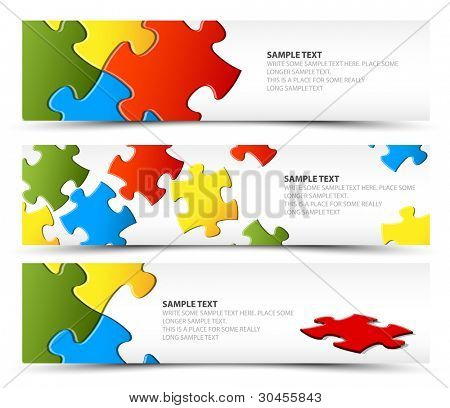 Set of puzzle horizontal banners - jigsaw or solution