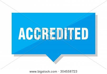 Accredited Blue Square Price Tag On White Background