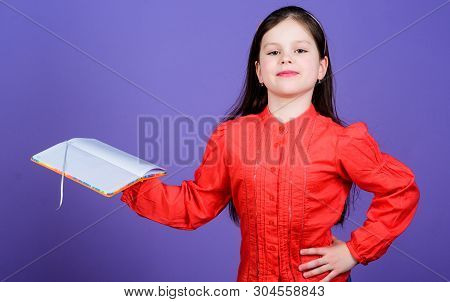 The Library Is The Temple Of Learning. Confident Small Child Holding Library Book. Adorable Little L