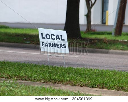 A Curbside Sign For A Local Mobile Farmers Market That Moves From Strip Malls To Strip Malls During