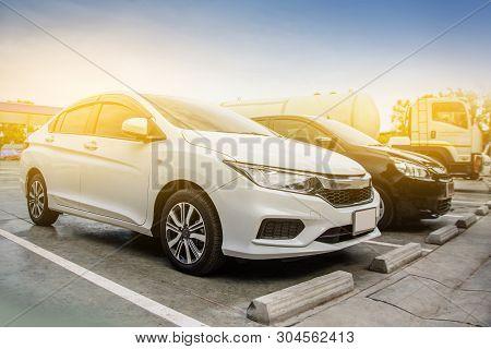 Car Parking  In Car Park,transport And Transportation Concept
