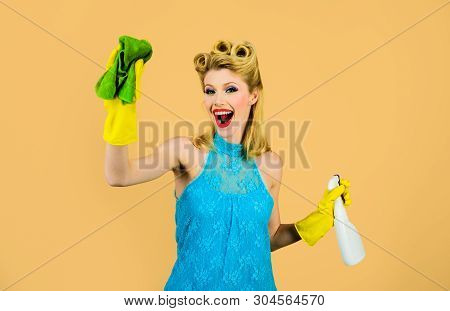 Cleaning Service. Girl Cleaning With Rag And Bottle Spray. Housewife Ready For Housework. Beautiful
