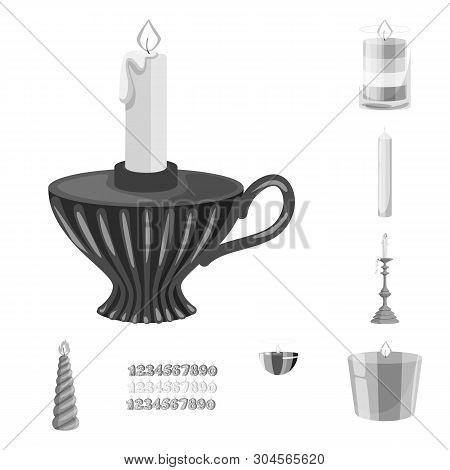 Vector Illustration Of Paraffin And Fire  Symbol. Collection Of Paraffin And Decoration    Stock Sym