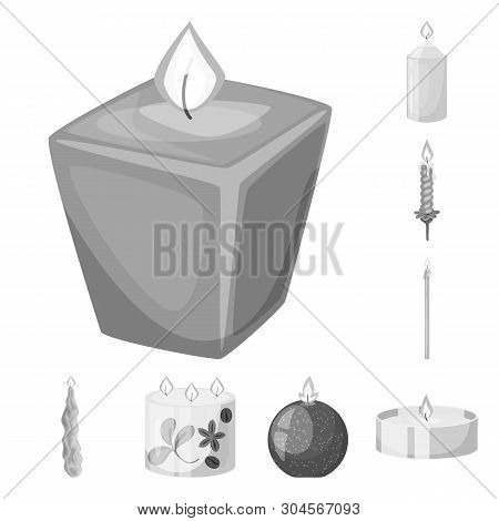 Vector Design Of Paraffin And Fire  Sign. Collection Of Paraffin And Decoration    Vector Icon For S