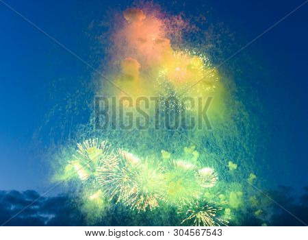Celebratory Fireworks In Night Time Smoky Closeup, Concept Celebration, Festival, Fun