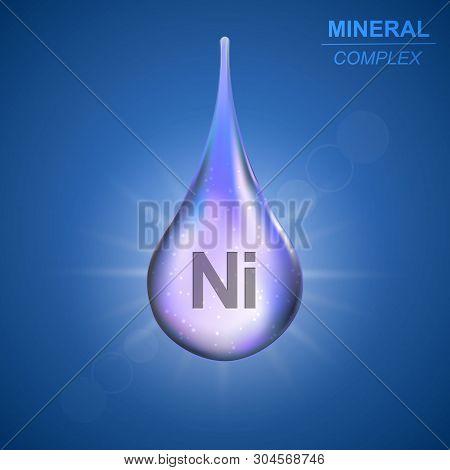 Niccolum Mineral Shining Blue Drop Icon .mineral Complex Background
