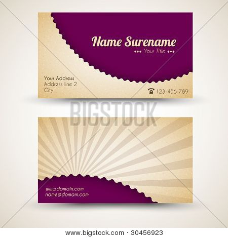 Vector old-style retro vintage business card - both front and back side (purple)