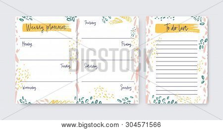 Collection Of Vertical Weekly Planner And To-do-list Templates Decorated By Artistic Scribble, Daub,
