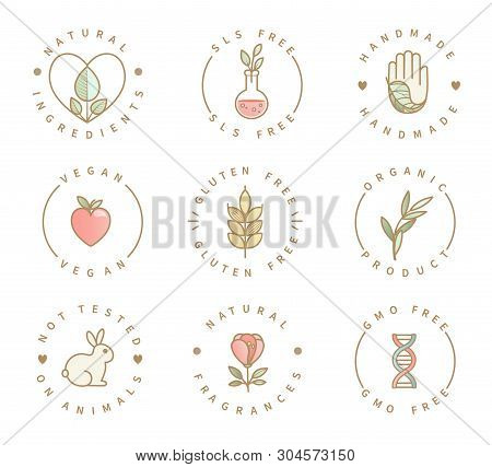 Set Of Eco Product Logos, Natural Organic Healthy Food And Drink Icons, Labels For Restaurant Menu,