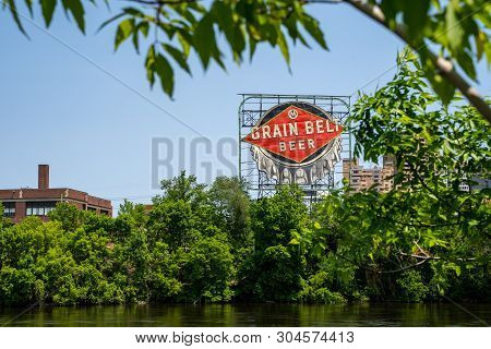 Minneapolis, Minnesota - June 2, 2019: Iconic Grain Belt Beer Sign In Downtown Minneapolis, On The B