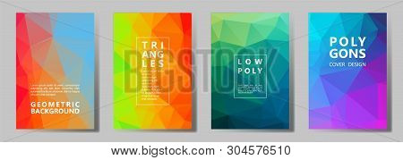 Facet Low Poly Modern Banners, Posters, Flyers Vector Graphic Design Set. Diamond Texture Polygonal
